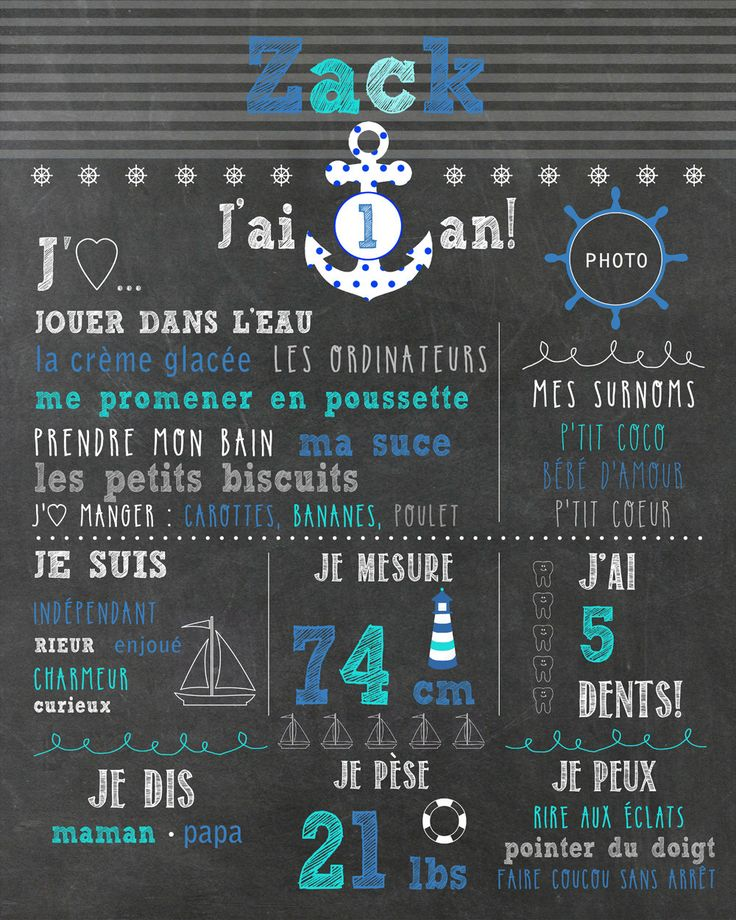 "Affiche 1er anniversaire - thème ""nautique"" - chalkboard_FICHIER NUMÉRIQUE, fête 1 an, garçon, souvenir, smash the cake, décor photo par MOMYboutique sur Etsy https://www.etsy.com/fr/listing/237276288/affiche-1er-anniversaire-theme-nautique"