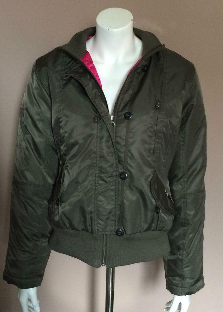 Triple Five Soul 555 Bomber Jacket Parka Coat Army Military Green Women Size L