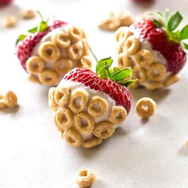 Yogurt-Dipped Cheerios Strawberries | Recipe | Frozen fruit snacks, Homemade fruit snacks, Cheerios snacks
