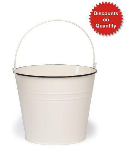 Fullerton Decorative Cream Zinc Flower Bucket - H16cm x D19cm