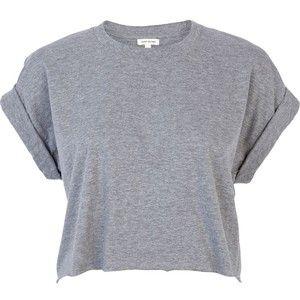 River Island Grey short sleeve boxy cropped t-shirt