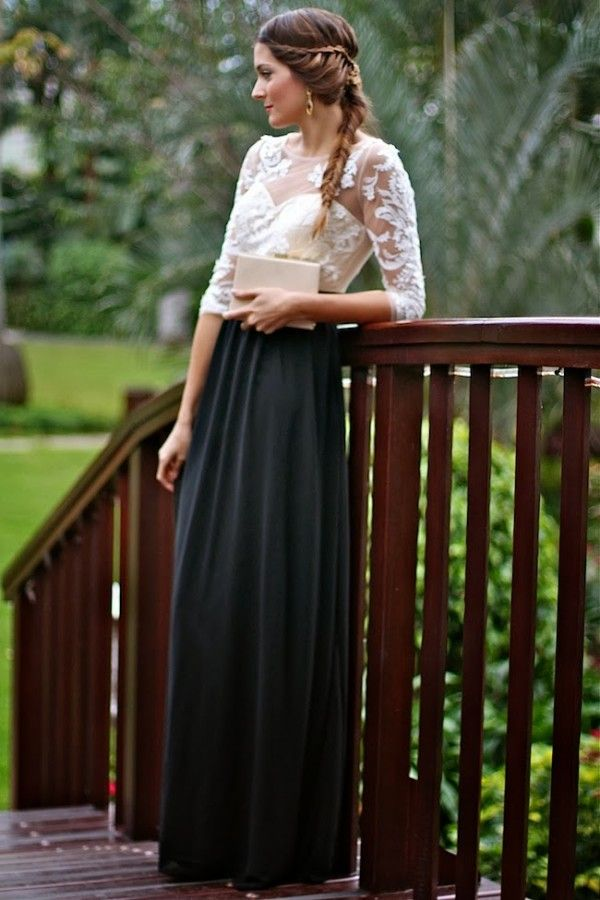Black maxi + decrative floral lace top..more refined look   [akf]