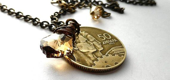 Yugoslavian Coin necklace Swarovski necklace Coin jewelry