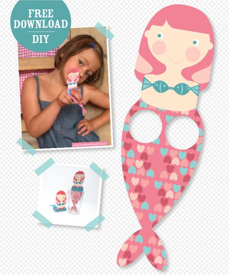 Free printable DIY: mermaid hand puppet for under the sea kids party!  Download gratis: zeemeermin handpopje! Voor een onderwater-, piraten- of zeemeerminfeest.