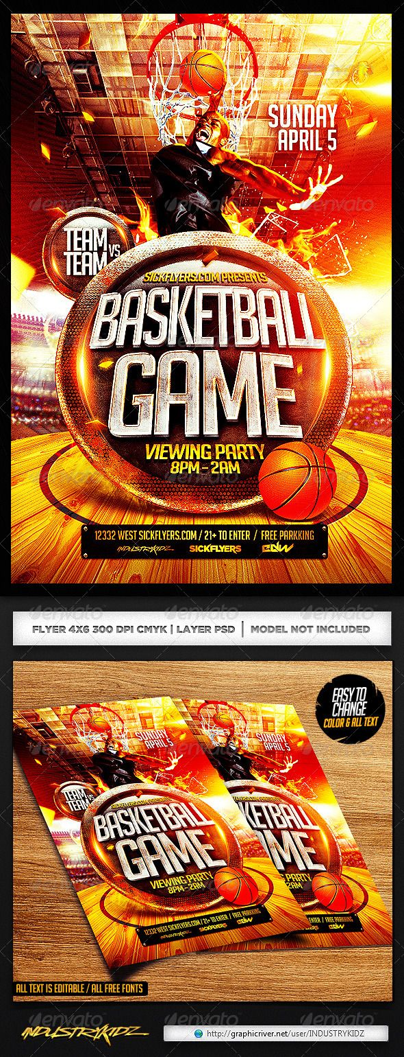 Basketball Playoffs Flyer PSD — Photoshop PSD #usa #dunk • Available here → https://graphicriver.net/item/basketball-playoffs-flyer-psd/7351212?ref=pxcr