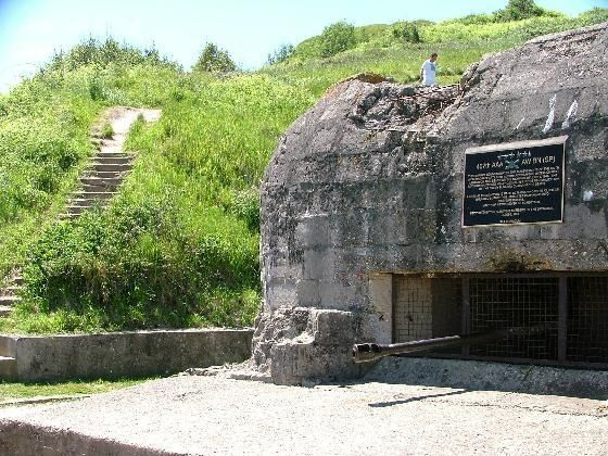 German pillbox on Omaha Beach. Vierville was the primary landing point and most well defended bec the only major road to the coast.
