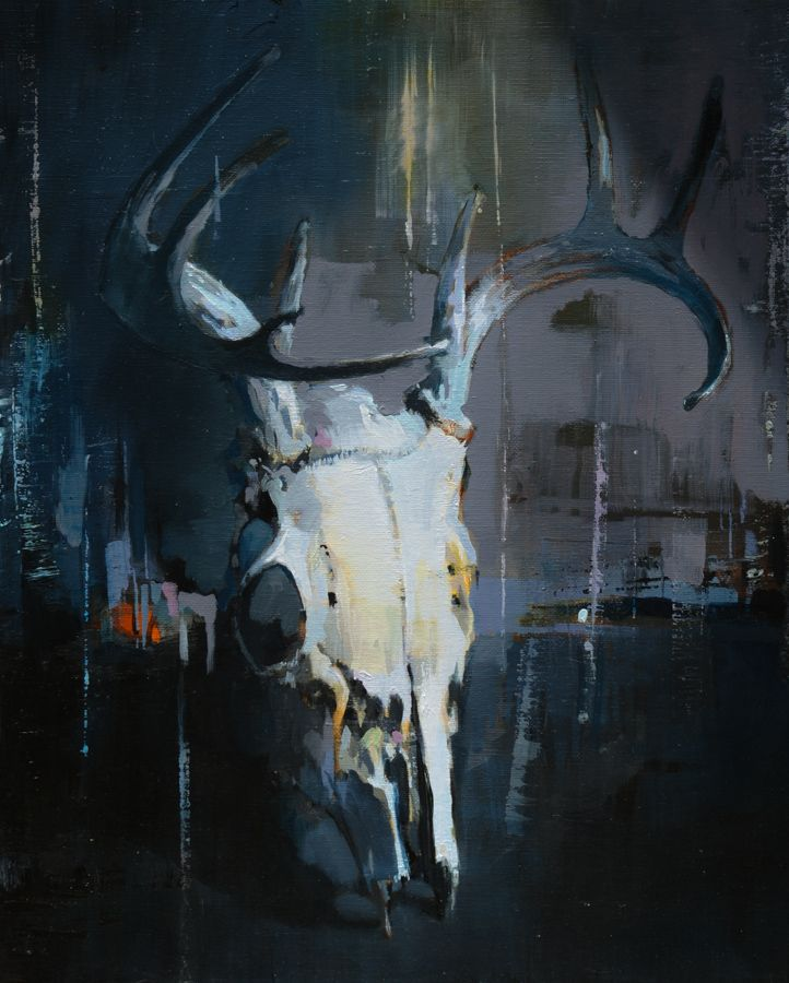 8 Point Deer skull with Antlers / 18 x 24 / Oil on canvas