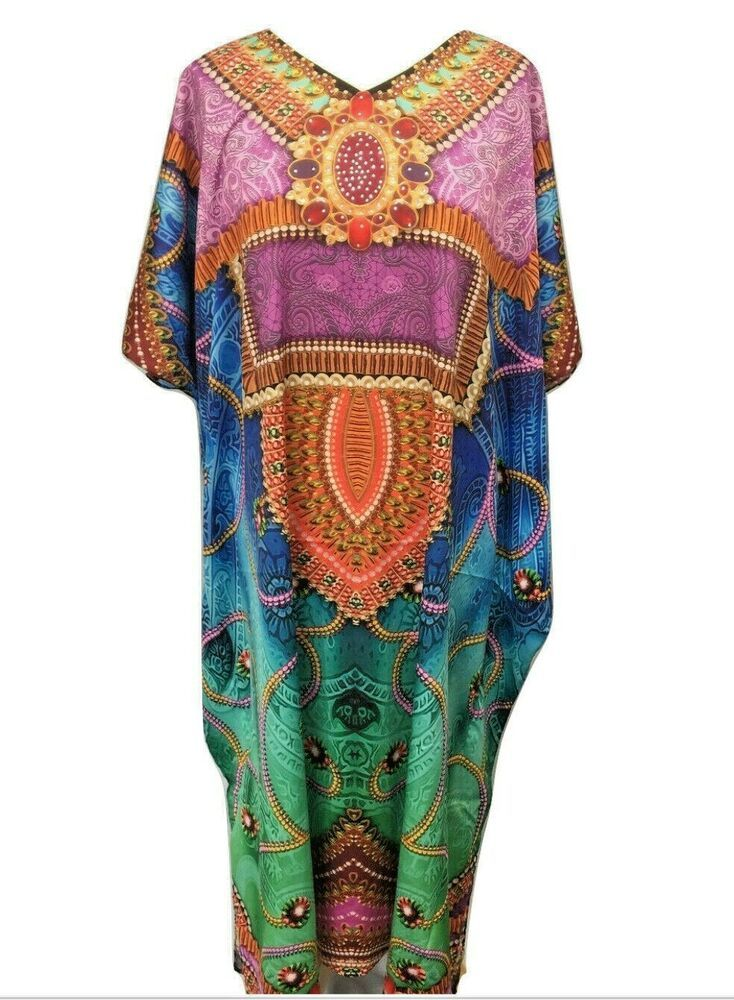 Free Size Embellished Kaftan Tunic Beach Cover up fits 14,16,18,20,22,24,