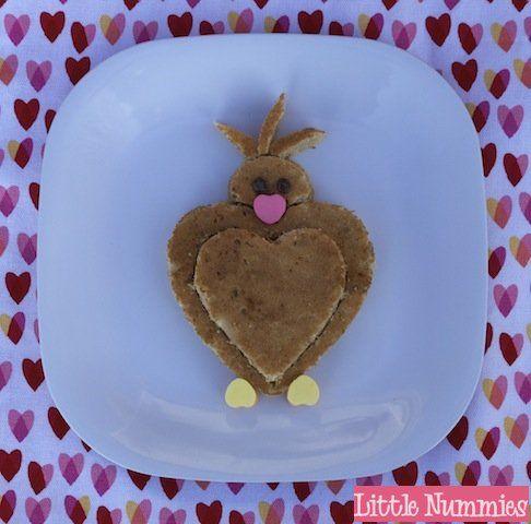 valentine's kids snack: lovebird pancake