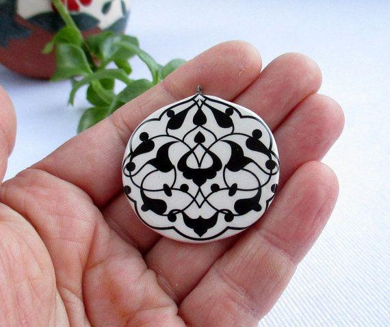 Ceramic Pendant/Handmade/Christmas gift/Iznik by nazsCERAMICS