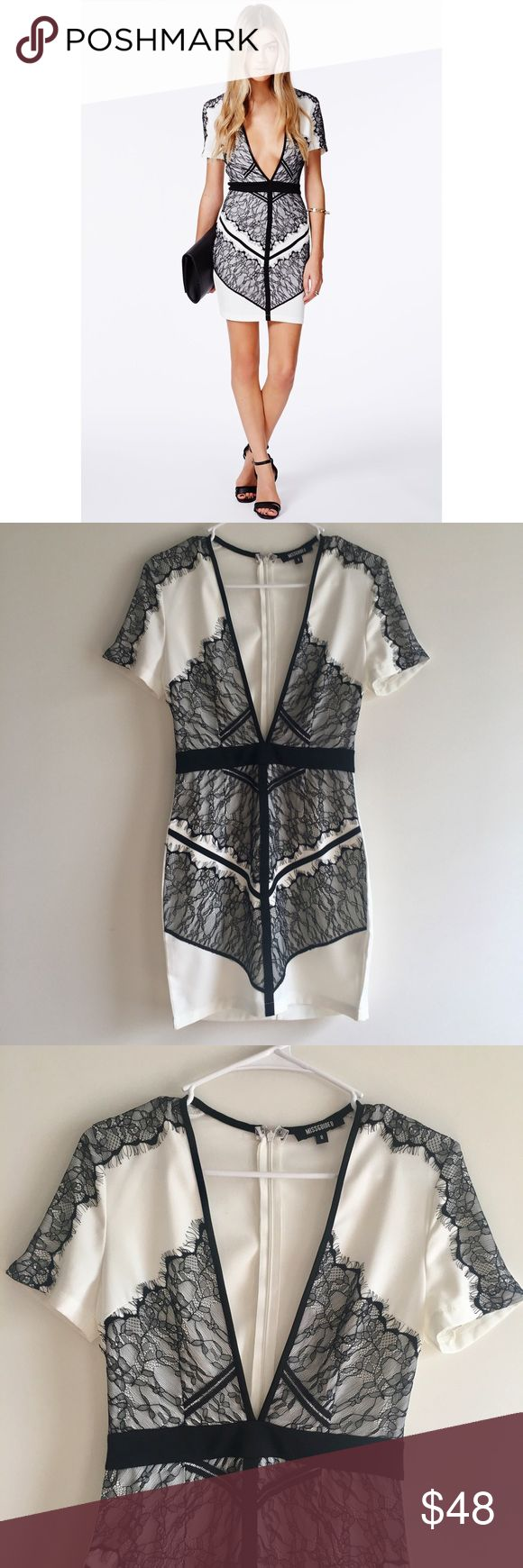 Missguided White and Black Lace Mini Dress Beautiful and sexy dress, perfect for a night out! Body con style. Size US 4. 100% polyester. Never worn or washed. There is a tiny flaw on the back of the dress, pictured above! Missguided Dresses Mini