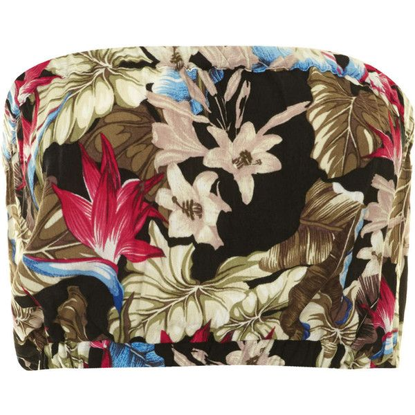 TOPSHOP Petite Tropical Print Bandeau ($19) ❤ liked on Polyvore featuring tops, topshop, multi, petite, bandeau bikini top, topshop tops, brown bandeau top, bandeau top and rayon tops