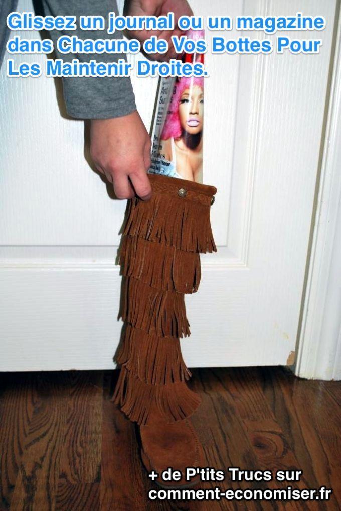Maintenir ses bottes droites pour éviter de les abîmer