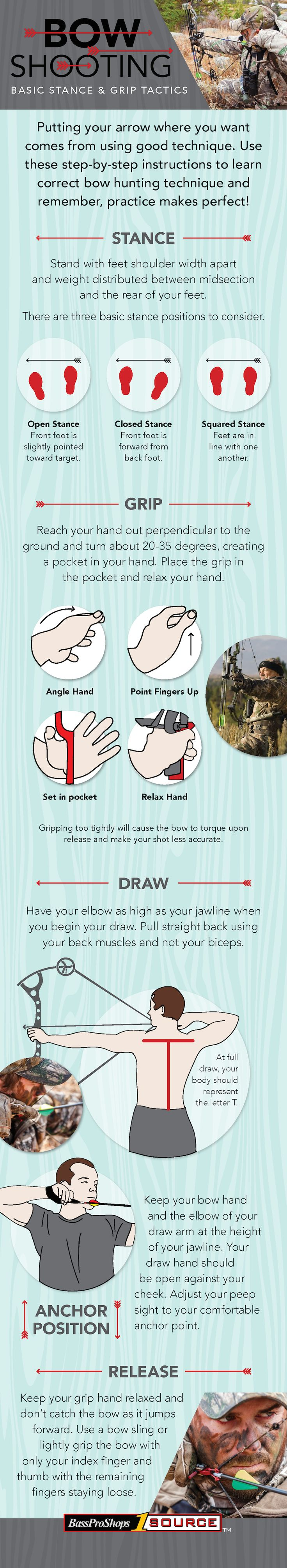5 Steps to Bow Shooting Basics: Stance & Grip Tactics #huntingtips #bowhunting #basspro #1source #infographic