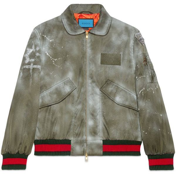Gucci Guccighost Hand-Painted Bomber (£2,210) ❤ liked on Polyvore featuring men's fashion, men's clothing, men's outerwear, outerwear, men, outerwear & leather jackets, ready to wear, leather mens clothing, mens clothing and mens leather apparel