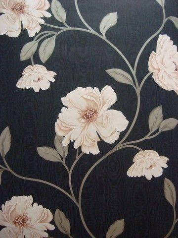 modern bloemen behang zwart grijs beige 57