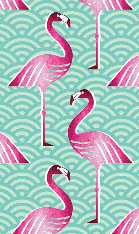Fond d'écran personnalisé flamant rose par handmadebymeshop sur Etsy