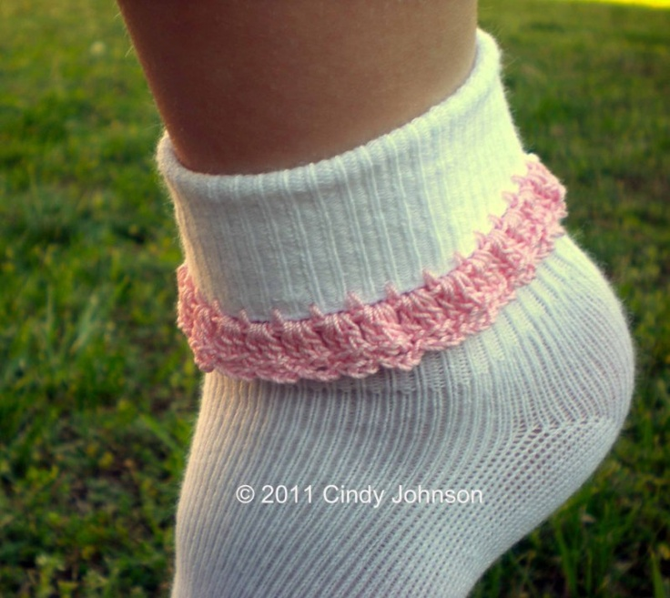 Crochet Edging for Socks - Grace's fav socks have beads and charms crocheted on them. Gotta learn how to do this.