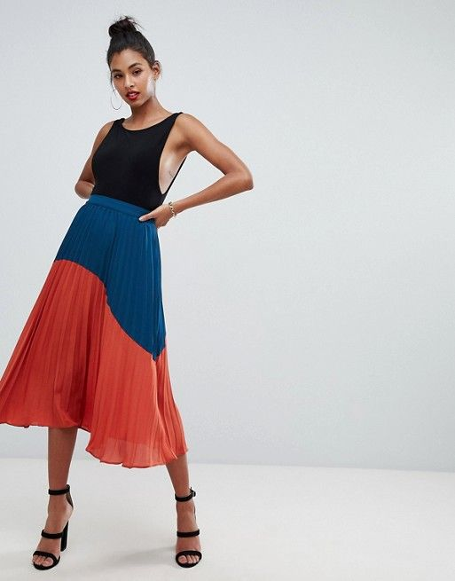 bd9dccc93 Boohoo exclusive color block pleated midi skirt in multi | Outfits ...