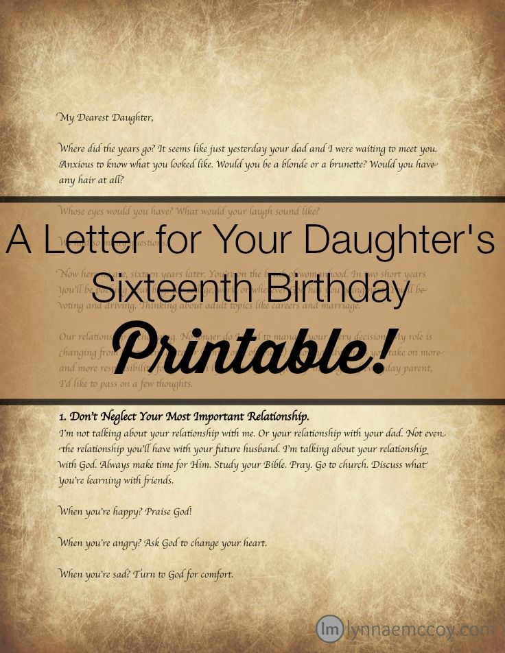 "This printable version of the popular blog post ""An Open Letter to My Daughter on her Sixteenth Birthday"" is here by popular demand. Each printable pack comes with the original letter in two fonts, each on both a plain background and the old letter background pictured. A great keepsake for a sixteenth birthday girl!"
