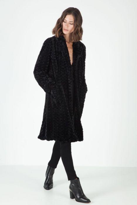 Faux fur overcoat