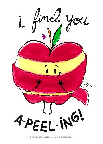 "Free Printables - Funny Valentines with Food Puns - ""I Find You A-Peel-ing"" apple illustration by Hearts and Laserbeams"
