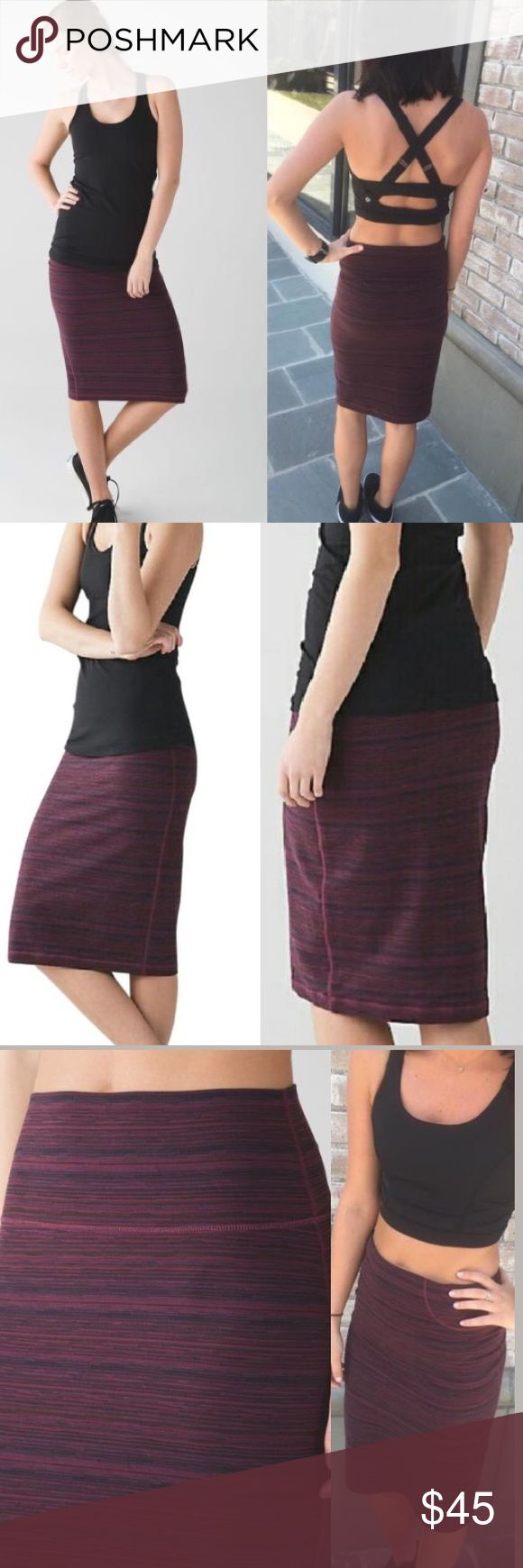 NWOT Bordeaux Tube and From Skirt Lululemon Sz 4 Comfortable, stretchy, figure flattering skirt with hidden pocket in waistband. Color is Cyber Red Grape Bordeaux Drama. New without tags. lululemon athletica Skirts Pencil