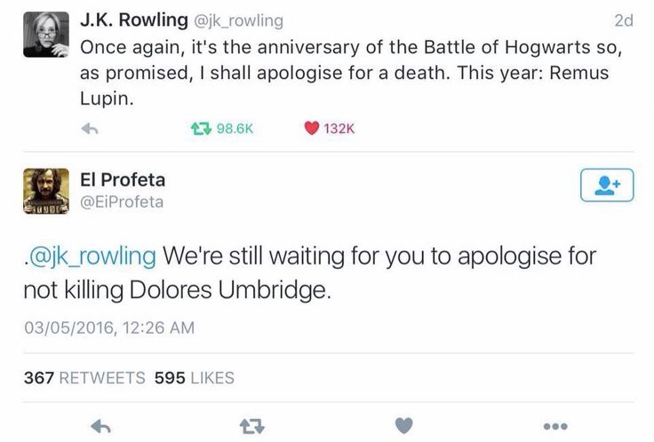 We're still waiting for J.K. Rowling to apologize for not killing Dolores Umbridge