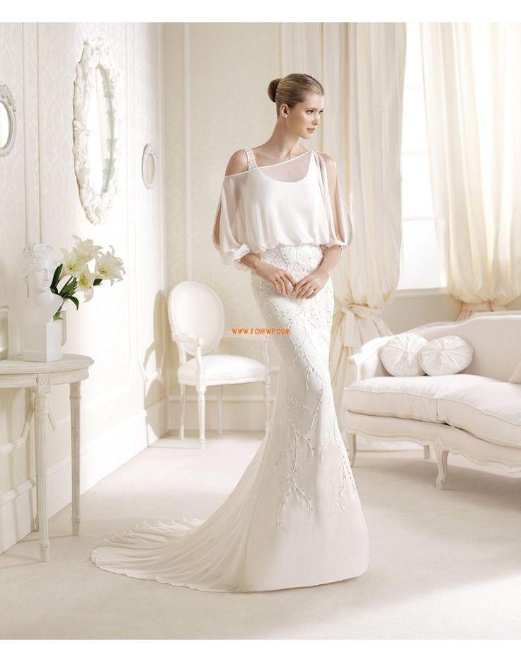 Traîne moyenne Sans manches Appliques Robes de mariée de luxe