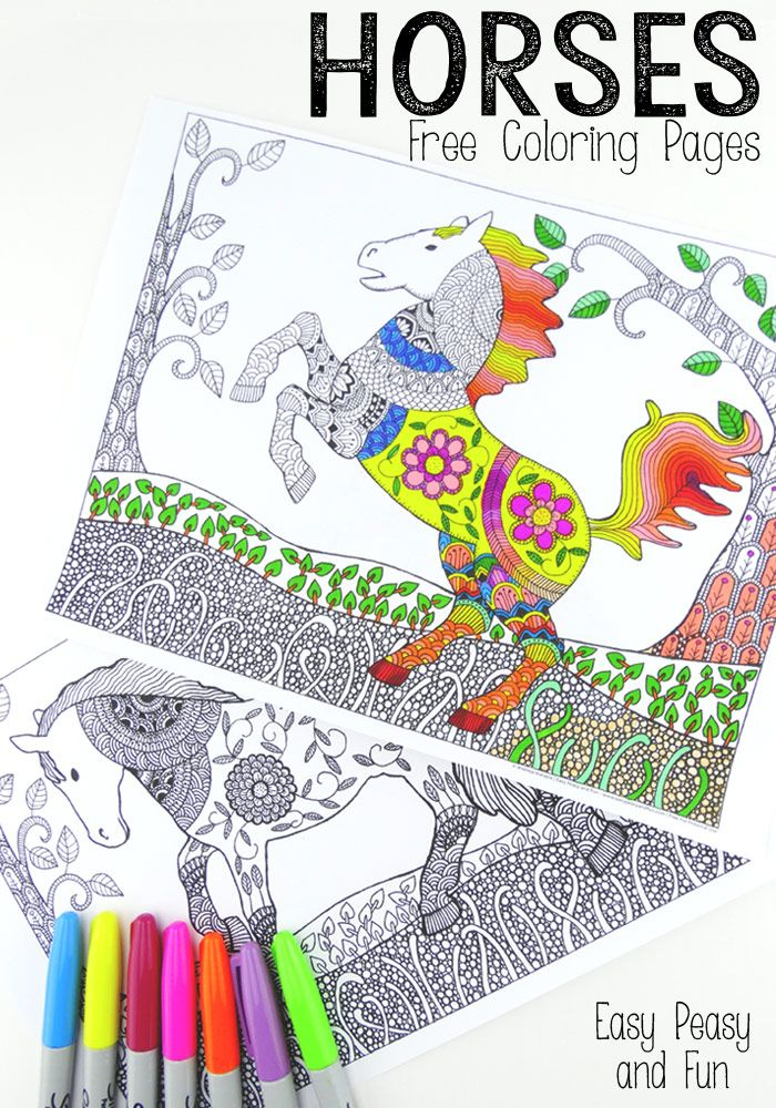 Free Horses Coloring Pages For Adults