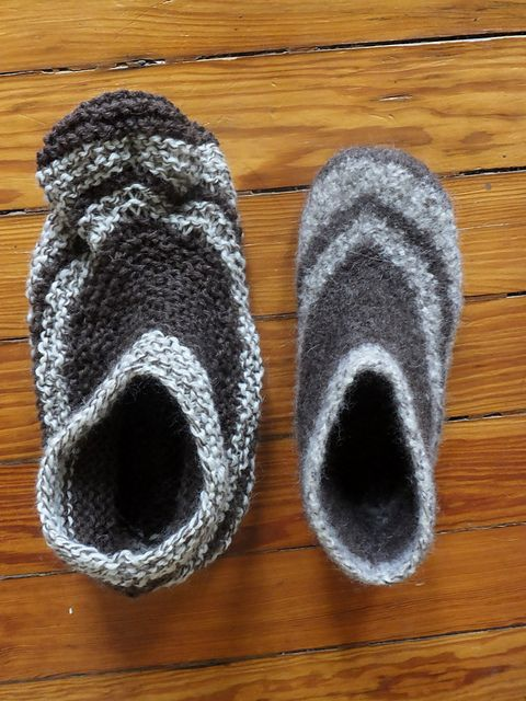 An easy felted slipper that knits up quickly. Works from the top of the ankle down and sewn up along the bottom of the foot.