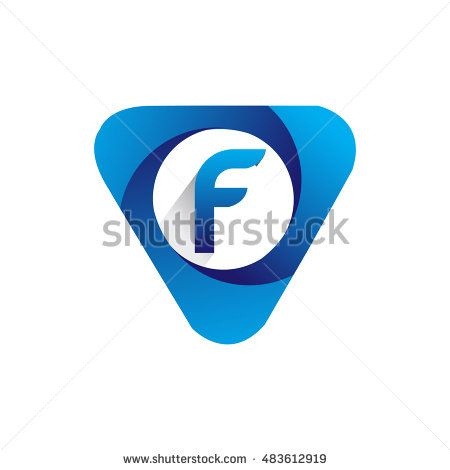 Logo letter F blue colored in the triangle shape, Vector design template…