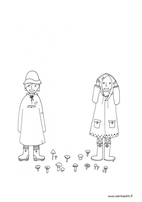 FREE Colouring picture of the Colournauts, rain and mushrooms