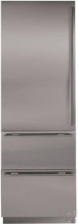 Sub Zero Built In Bottom Freezer Refrigerator With Spill Proof Glass Shelves,  2 Temperature Zones, Door Alarm, 2 Freezer Drawers,.
