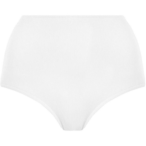 ZIMMERMANN Separates High Waisted Pant Bikini Bottom ($125) ❤ liked on Polyvore featuring swimwear, bikinis, bikini bottoms, swimming bikini, white high waisted bikini, white two piece, high rise bikini and striped bikini bottoms