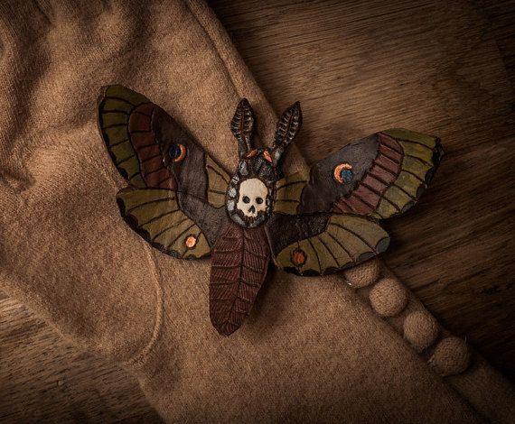 Skull Moth - leather brooch