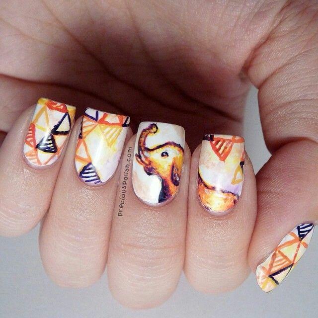 Nail Art Designs Elephant Tusk ~ Cute elephant valentine nail art ...