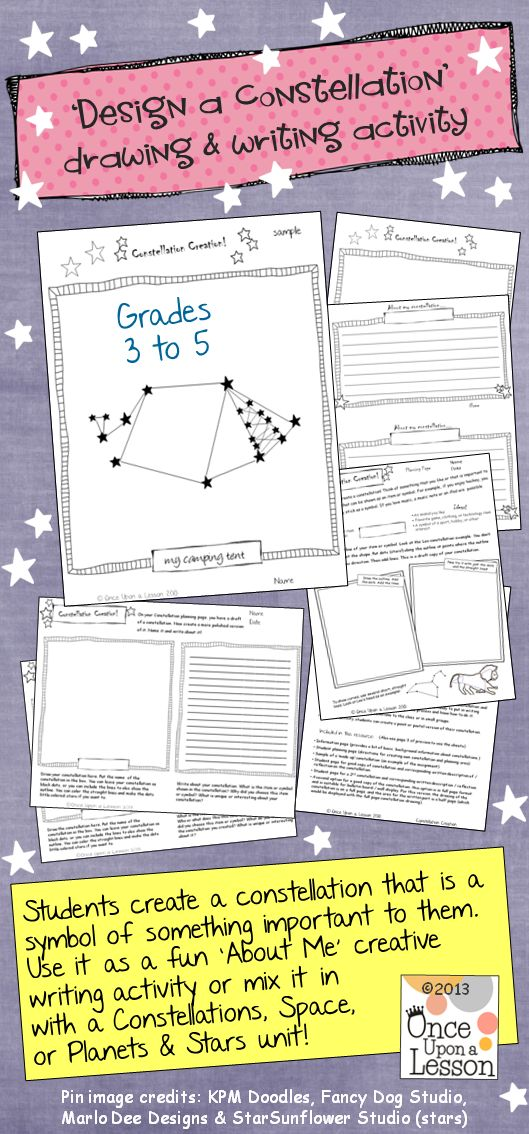 Create a Constellation! Grades 3 to 5 (and adaptable for grades 6 & 7). Use as a fun creative writing or 'About Me' activity, or as an ELA activity to support a Space, Planets & Stars, or Constellations unit. $ #WritingActivity #constellations #AboutMe
