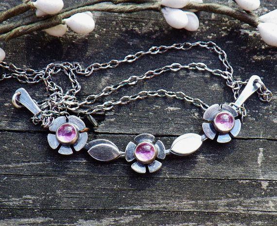 Rosa collar de zafiro... Primavera rosa pastel flor rosa plata flor collar yugo declaración collar