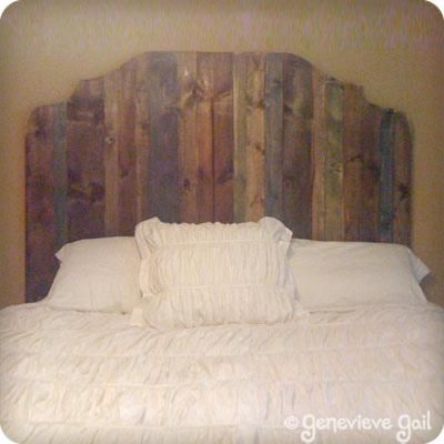 Use different stains on the headboard slats for interest for Makeshift headboard