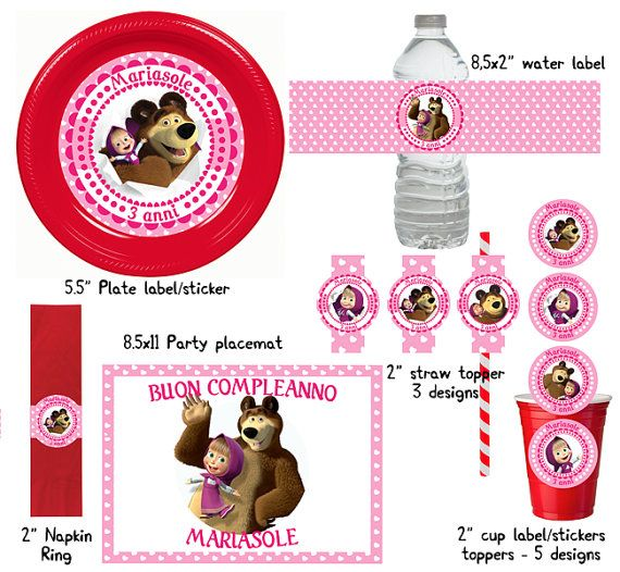 Personalized printable Masha and the Bear Party Table Set