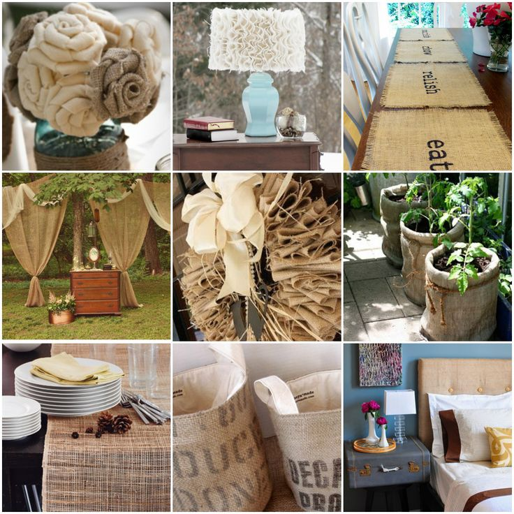 25 Inspirational Ideas for Decorating w/ Burlap: Decor Ideas, Crafts Ideas, Burlap Crafts, Decor Guide, Burlap Decor, Burlap Ideas, Burlap Projects, Burlap Rosestoo, 25 Inspiration