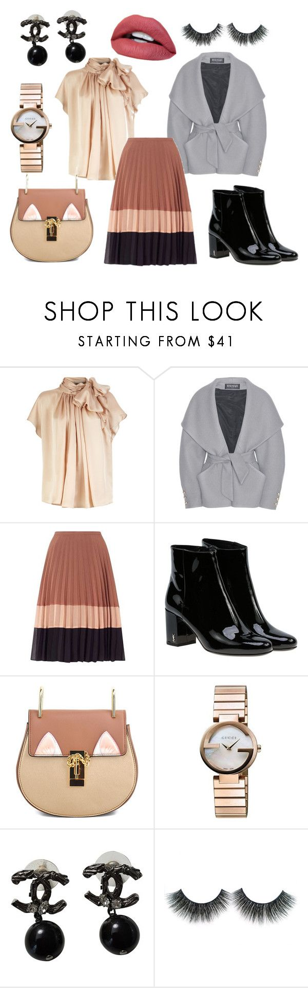 """Натюрель"" by evavendoc on Polyvore featuring мода, Balmain, Miss Selfridge, Yves Saint Laurent, Gucci и Chanel"
