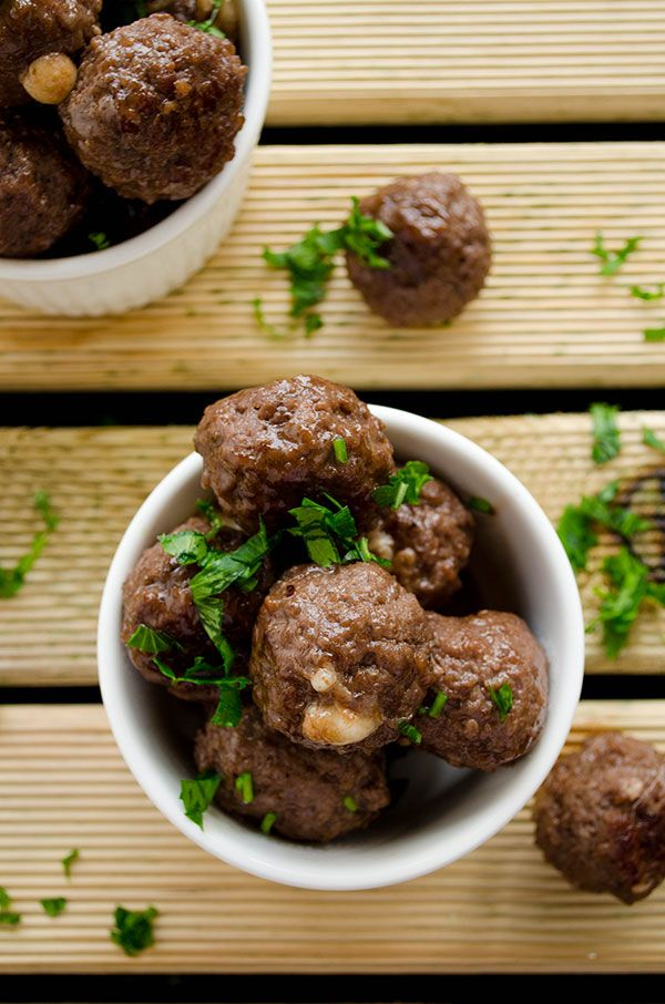 Cheese stuffed meatballs coated with honey and pomegranate molasses ...