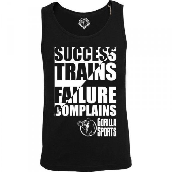 """Gorilla Sports hihaton Success Trains, 16,95 €. Musta hihaton paita johon on painatettu """"Success trains Failure complains"""". Paita sopii treenaukseen kuin myös vapaa-ajalle. Materiaali on hyvän tuntuinen eikä häiritse treenatessa. #success #trainsfailurecomplains"""
