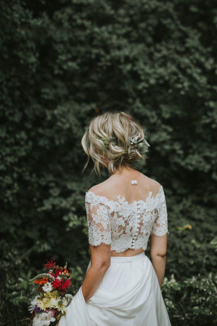 Dreamy Casual Kelowna Wedding At Gatzke Orchard Junebug Weddings Two Piece Wedding Dress Boho Wedding Dress Casual Wedding Dress