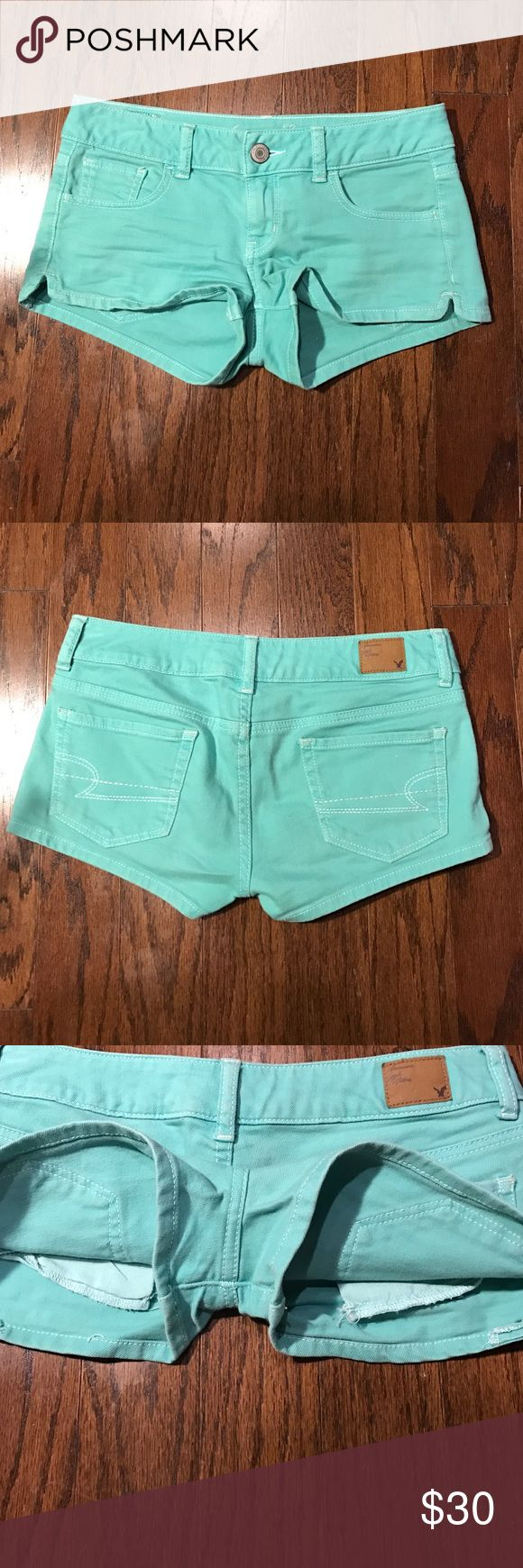 "American Eagle Outfitters teal denim shorts Never worn. Super low rise waist. Stretch line. Teal. 2"" inseam. 98% cotton. 2% spandex. Open to reasonable offers! American Eagle Outfitters Shorts Jean Shorts"