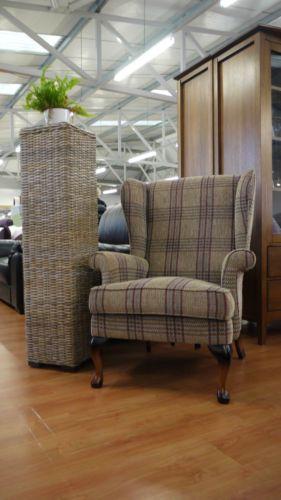 Penshurst Electric Riser Wingback Armchair Lilac Wilson Tartan Fabric Chair | eBay