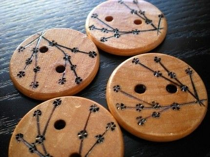 Wooden cherry blossom buttons