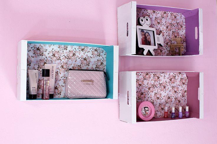 decoração com caixotes de feira (2) caixotes de feira decorado decoração quarto feminino caixotes de feira diy nichos com caixotes de feira faça você mesmo